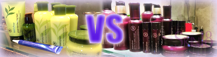 Comparing Innisfree: Green Tea Seed + Perfect 9Repair